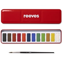 Reeves Watercolour Red 12 PanTin with Brush Assorted Colours Set of 12